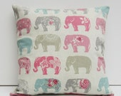 Elephants Cushion Cover Elephant Pillow Case Elephant Decor Pillow Sham Pink and Gray Elphants 14x14 16x16 17x 17 18x18 20x20