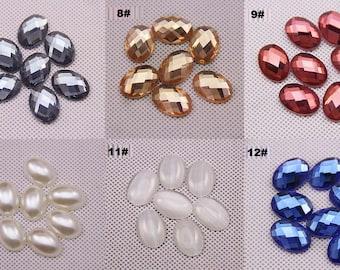 10pcs oval faceted pearl rhinestones kawaii cabochon 18x13mm flatback mix styles