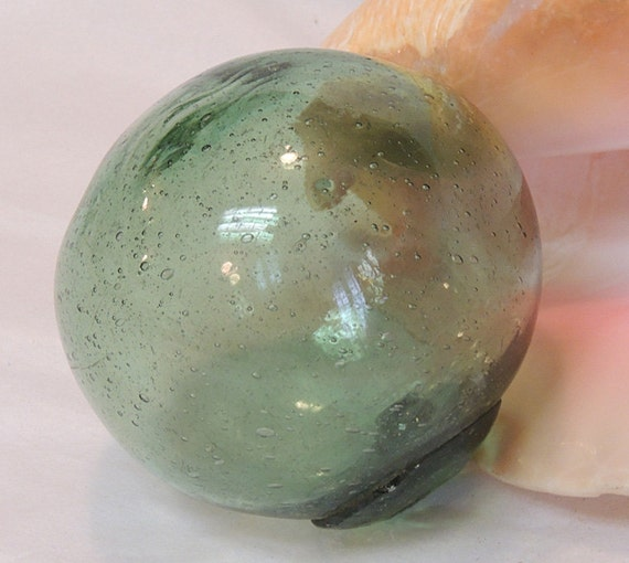 Vintage Japanese GLASS FISHING FLOAT.. Bubbles, Odd Shape, Moss Green (# 55)