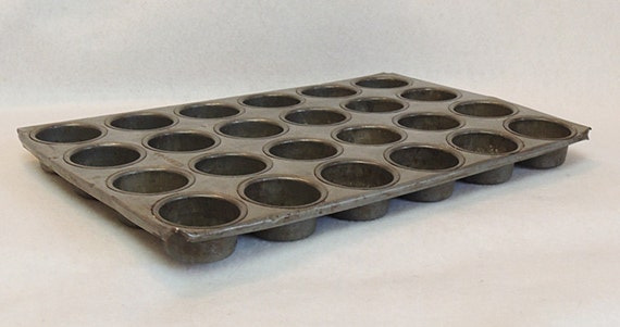 Antique Kreamer Metal 24 Hole Friand Muffin Biscuit Oven Pan Cooking Tin