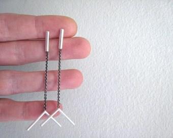 feather fletching drop post earrings, arrow, sterling silver