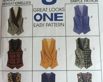 Vintage 90s VEST Front Buttoned Princess Seam With or Without Collar McCalls No. 7819 Size 14 16 18 Vintage 90s Vest Pattern UNCUT 8 Styles
