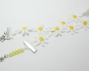 Daisy Ribbon Bookmark Yellow Daisy Flowers Charms Delicate Feminine Cotton Ribbon 108B