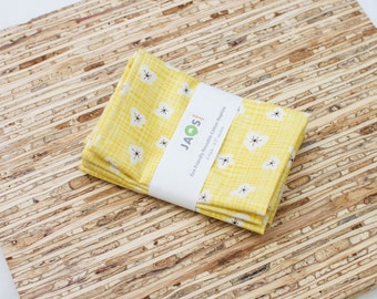 Small Cloth Napkins - Set of 4 - (N1756s) - Yellow Floral Flower Modern Reusable Fabric Napkins