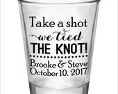 Wedding Favors Shot Glasses Take a Shot We tied the knot! New 2016 2017 Design Custom Personalized Glass Wedding Favor Ideas