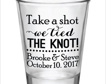 Wedding Favors Shot Glasses Take a Shot We tied the knot! New 2017 2018 Design Custom Personalized Glass Wedding Favor Ideas