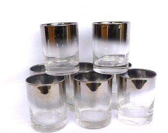Vintage SILVER OMBRE BARWARE/ set of 8 tumblers