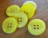 6 Yellow Shiny Streak Round Buttons Size 11/16""