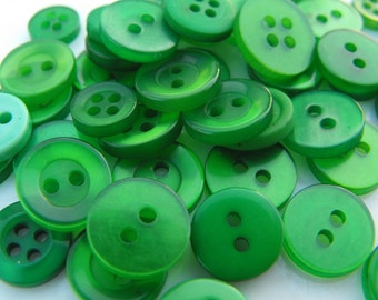 Green Buttons, 500 Small Assorted Round Sewing Crafting Bulk Buttons