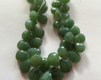 Jadeite Faceted Tear Drops-12x10mm