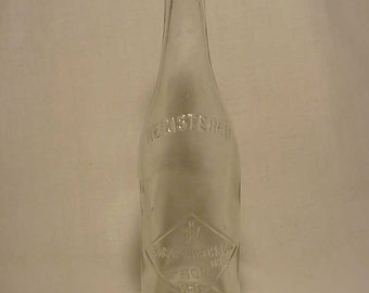c1900 Jacob Wirth & Co. Inc. Providence, R.I. , Clear Crown Top Blown Glass Pre Prohibition Breweriana Beer Bottle