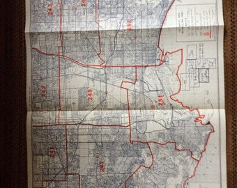 Industrial Decor Map 1980's  Southern Area Los Angeles huge California vintage
