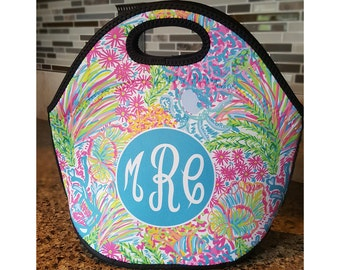 Monogram Lunch Bag, Monogrammed Lunch box, Personalized Lunch Tote, lunchbox, LP Inspired Lovers Coral