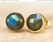 WINTER SALE - Labradorite Stud Earrings - Gemstone Studs - Round Studs - Gold Stud Earrings - Post Earrings