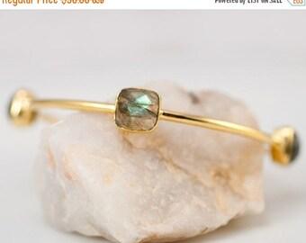 40 OFF - Bangle - Labradorite Bracelet - Gemstone Bangles - Bezel Set Bangles - Gold Bracelets - Stacking Bangles