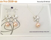 Jewellery Set, Orchid Necklace and Earrings, Peach Freshwater Pearl, Sterling Silver Chain, Orchid Pendant, Wedding Jewelry