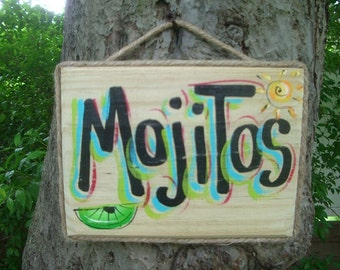 MOJITOS - Tropical Paradise Beach House Parrothead Pool Patio Tiki Hut Bar Drink Handmade Wood Sign Plaque