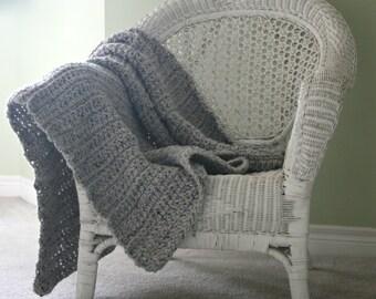 Chunky Knit Crochet Blanket Throw Afghan // Marble Grey // The Muskoka Blanket