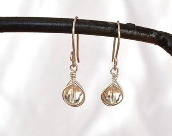 Clear Quartz Earrings, Crystal Jewellery, Sterling Silver Earrings, Wire Wrapped Crystal