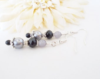 Gray Pearl Earrings, Czech Glass Earrings, Wedding Earrings, Nickel Free Earrings, Clip On Earrings, Black Gray Earrings, Bridal Earrings