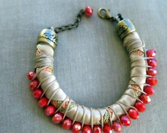 Greek summer sorbet - Coral swarovski drops and champagne bracelet