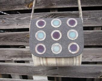 Wool penny rug bag, crossbody bag, messenger bag, wool purse