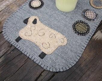 Wool penny rug, sheep penny rug, wool table runner