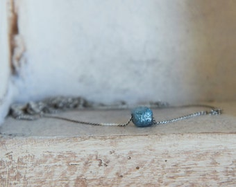 Minimalistic-Natural blue cube shaped-raw rough uncut diamond pendant necklace- sterling silver