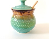 Sugar Bowl / Sugar Jar / Honey Pot, in Green and Brown, READY TO SHIP, Handmade 20 ounce, by RiverStone Pottery