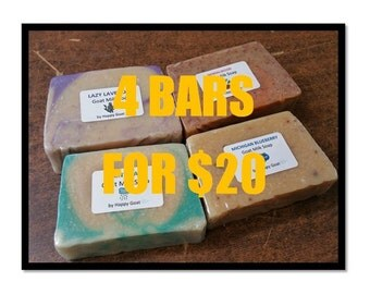 5 Dollar Bars-BUY 4 and SAVE-goat milk soap-bath/shower bars by Happy Goat