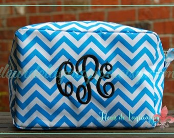 Chevron Microfiber Cosmetics Makeup Bag Personalized - Monogrammed - Embroidered