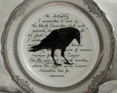"Edgar Allan Poe Raven Dinner Plates, 10.5"", Halloween Plates, Halloween Dinnerware, Halloween Dishes, Poe Plates, Raven Plates"