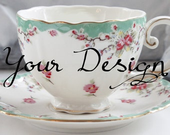 Green Floral Custom Tea Cup and Saucer Set, Custom Tea Set, Custom High Tea Party, Custom Teacup, Custom Mug, Personalized Teacup, Monogram