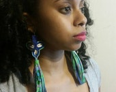 Leather earrings tri-spiraled cowrie shells, batik fabric and leather trim, with tassels/fringe.