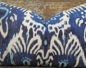 Designer Pillow Cover  -  Lumbar, 16 x 16, 18 x 18, 20 x 20, 22 x 22, Euro - IKAT Navy Blue CRVA