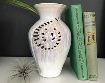 Vintage Handmade Pottery/Vase - Beautiful Cut-outs, Pastel & Iridescent Glaze
