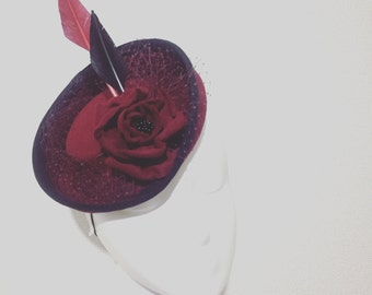Burgundy Red Miniature Victorian Riding Hat