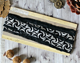 """French antiques trim black & silver details 98"""" Art Deco 1920s ribbon collection retro haberdashery romantic medieval moon"""
