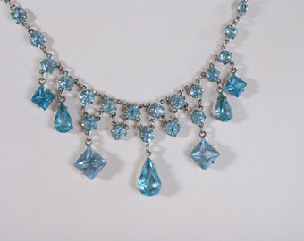 Vintage 1920s Gatsby Wedding Necklace - Two Tone Teal Blue Rock Crystal - Art Deco Fashions