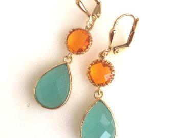 Orange and Aqua Dangle Earrings in Gold. Drop Earrings. Summer Wedding Jewelry.