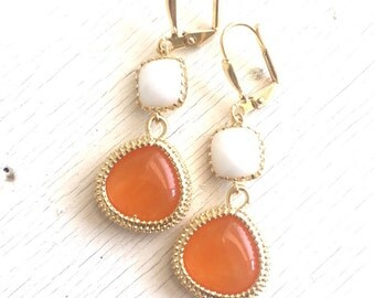 Orange Teardrop and White Stone Dangle Earrings. Statement Fashion Earrings. Warm Orange White Earrings. Jewelry Gift. Christmas Gift.