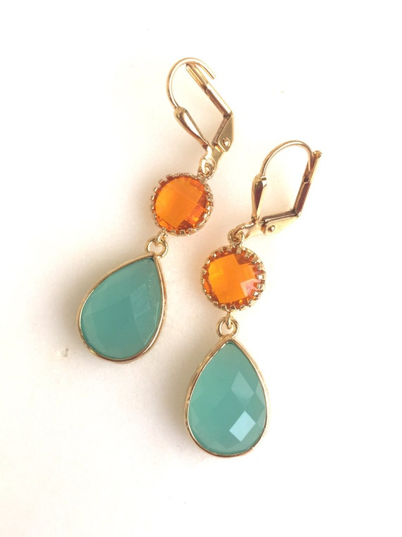 Orange and Aqua Dangle Earrings in Gold. Drop Earrings. Summer Wedding Jewelry.
