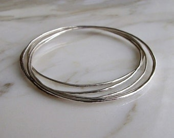 Sterling Silver Stacking Bangles, Set of 5, Shiny Finish