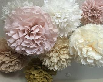 Tissue Paper Pom Poms - 20 Vintage Wedding decorations - Rose Quartz - Dusty Pink - Burlap and lace style decorations -Your Color Choice
