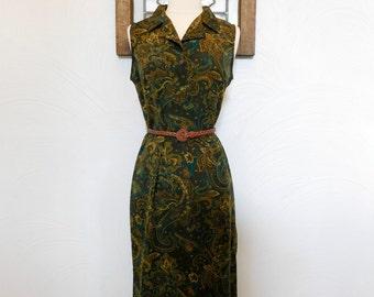 1980s Paisley Dress Vintage 80s Green Shirt Dress - M
