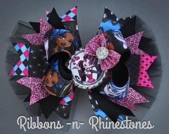 Monster High Boutique Hair Bow, Monster High Birthday Bow, Monster High Bow, Monster High HairBow, Monster High Party, Monster High Birthday