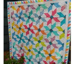 Quilt Pattern -  Sugar Blossoms Fat Quarter Quilt Pattern - Throw / Lap Size - Intermediate - HARD COPY VERSION