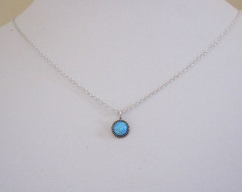 Blue opal dot charm sterling silver pendant with chain necklace