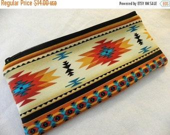 Large long zipper Pencil Case-Navajo fabric-Last one