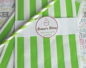 XOXO SALE 50 Lime Green Stripe Candy Bags, Lime Green Wedding Favor Bags, Lime Green Party Favor Bags, Popcorn Bags, Gift Bags